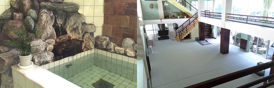 大謙館、鉱泉風呂と音楽ホール